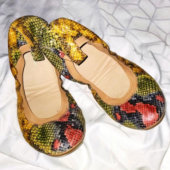 YOSI SAMRA Somara Python Faux Snake Ballet Flats